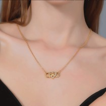 Damen Gold Silber Rose Gold Herzform Glück 8 Diamanten Liebe Herz Anhänger Halskette Schmuck