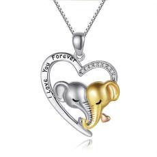 Liebe Herzförmige Elefant Anhänger Halskette Einfacher Brief Anhänger Schmuck 45+5CM Halskette