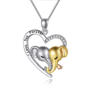 ハート型の象のペンダントネックレスが大好きシンプルな文字のペンダントジュエリー45 + 5CMネックレス