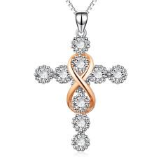 Religion Kreuz 8 Diamant Anhänger Halskette 45+5CM Halskette