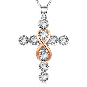 Religion Cross8ダイヤモンドペンダントネックレス45 + 5CMネックレス