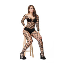 Sexy sexy long-sleeved large mesh hole one-piece fishnet stockings netting full-body round hole tight-fitting body shaping