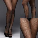 Dünne sexy Mesh-Hot-Diamant-Strumpfhosen Sexappeal Netzstrümpfe hohle Socken weibliche weiße Diamantsocken voller Diamanten