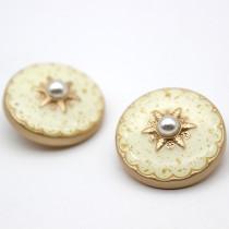 23MM Metal button Pearl enamel rhinestone gold fit 20mm snap jewelry