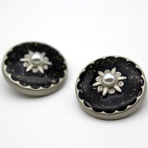 23MM Metallknopf Perle Emaille Strass gold passend für 20mm Schnappschmuck