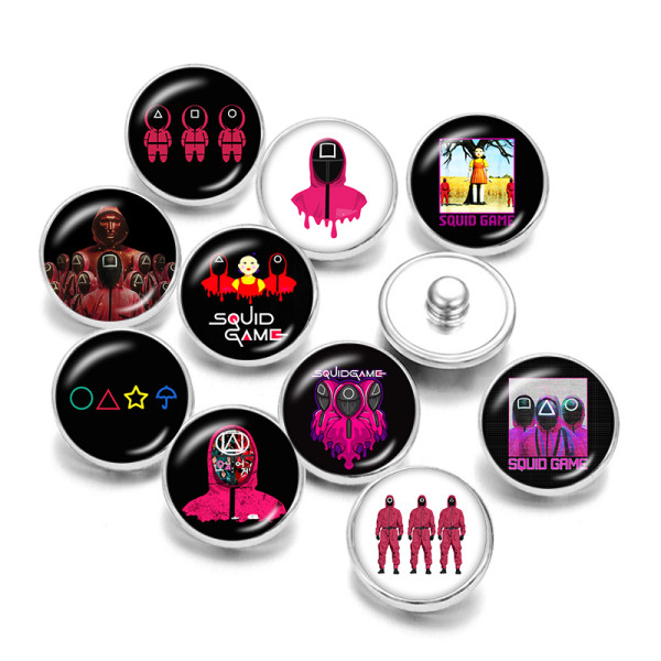 20MM  Game  Print   glass  snaps buttons