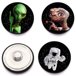 Außerirdischer Metall ET 20mm Druckknöpfe aus lackiertem Metall Cartoon-Muster