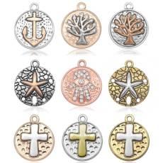 20CM Metall Goldenes Kreuz Seestern Baum des Lebens Anker Anhänger Armband Halskette Zubehör