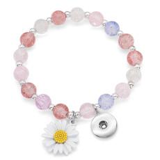 Boutons Daisy 1 avec bracelet élastique en cristal à pression fit18 & 20MM bijoux à pression