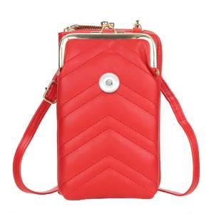 携帯電話バッグ女性大容量刺繍ワンショルダーメッセンジャーバッグファッション縦型財布フィット18mmチャンク