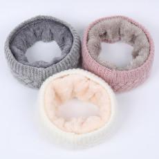 Herbst und Winter gestrickte Lätzchen für Männer und Frauen plus warmer Samtschal Outdoor-Mode verdickende Single-Loop-Doppelschicht-Pulloverkragen