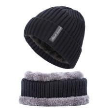 2-teilige Winter Herrenmütze Strickmütze Anzug Erwachsenenmütze warme Mütze plus Samt dicker Hutschal zum Warmhalten