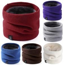 Gestrickter Wollschal in Leinwandbindung warmer Pulloverschal für Herren und Damen neutral plus Samtschal reiner Farbschal