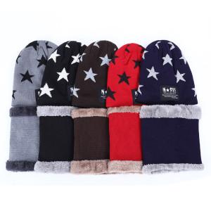 Детская осень-зима плюс утолщенная бархатная детская пятиконечная звезда шарф, шарф, шапка, костюм-двойка, теплая шерстяная шапка