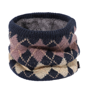 Autumn and winter household plus cashmere collar warm scarf men and women sports knitted checkered collar windproof scarf