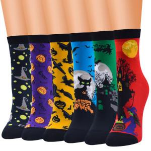 Новые носки серии Хэллоуина, женские носки средней длины, женские носки, хлопковые носки, женские носки с героями мультфильмов