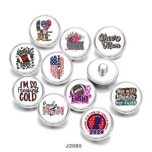 20MM USA LOVEMOMプリントガラススナップボタン