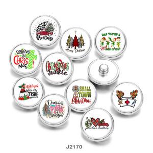 20MMクリスマスカークロスプリントガラススナップボタン