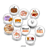 20MM  Thanksgiving  Love  Fall  Print   glass  snaps buttons