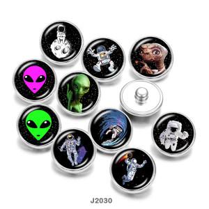 20MM地球外宇宙飛行士プリントガラススナップボタン
