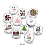 20MM  Christmas  Snowman  Love  Print   glass  snaps buttons