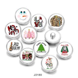 20MMクリスマススノーマンラブプリントガラススナップボタン