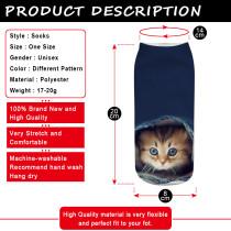 Katze 3D gedruckte Socken, kurze Röhren-Damensocken, Bootssocken