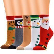 Weihnachtssocken Cartoon Socken Frauen Baumwollsocken Schlauchsocken Damensocken Elch Schneemann Baumwollsocken