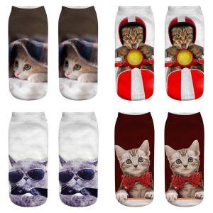 Носки с 3D принтом Cat, короткие женские носки, лодочки