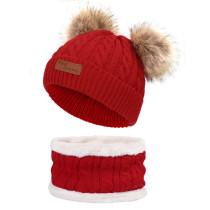 Sombrero de babero para niños de invierno, gorro de punto con pompón, lana cálida y cuello grueso de terciopelo