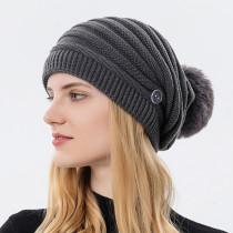 Nueva máscara colgante de otoño e invierno, gorro de lana para mujer, gorro de Baotou a la moda, protección para los oídos cálida, sombrero de punto, bola de pelo