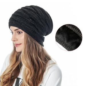 ウールニット帽男性と女性同じスタイルの暖かくベルベットの屋外レジャー帽子ダイヤモンド編み