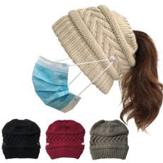 Los botones de gorro de punto pueden colgar máscaras sombrero de cola de caballo de lana cálida al aire libre