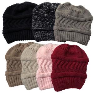 秋冬帽子新商品ニットポニーテールハットレディースポニーテールウールハット