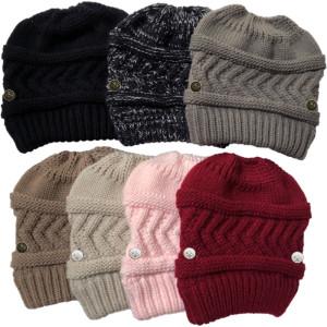 ニット帽のボタンは、屋外の暖かいウールのポニーテール帽子のマスクを掛けることができます
