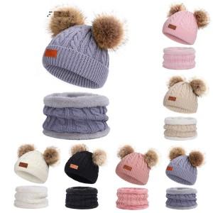 冬の子供用よだれかけ帽子ポンポンニット帽暖かいウールとベルベットの太い首