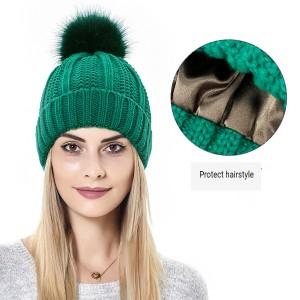 保護ヘアスタイルシルキーストレッチサテンニット帽ルーズで暖かい