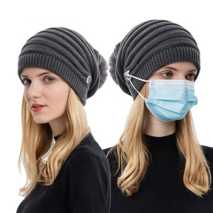 新しい秋と冬のハンギングマスクウールキャップ女性ファッションバオトウキャップ暖かい耳の保護ニット帽毛玉
