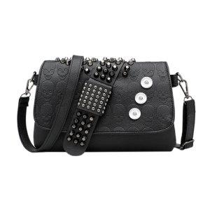 女性用バッグチェーンリベットブラックスカルショルダーバッグ斜めバッグ女性用18mmチャンクフィット