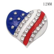 12MM High quality American flag metal silver plated snap enamel Rhinestone charms fit 12mm snap jewelry