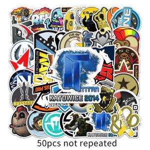 50 CS GOグラフィティステッカー、パーソナライズされたクロスボーダーゲームステッカー、DIYスケートボードウォーターカップラゲッジステッカー