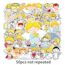 50 Angel Stickers Personalized Cartoon Children Stickers DIY Skateboard Water Cup Suitcase Sticker Waterproof