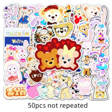 50 sheets of Duffy bear and Star Delu cartoon graffiti stickers luggage laptop car decoration stickers