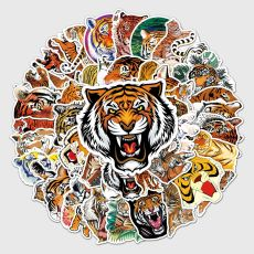 50 tiger graffiti stickers, personalized cross-border cool animal DIY motorcycle luggage waterproof stickers