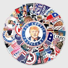 50 trump stickers, personalized cross-border waterproof account stickers, DIY skateboard water cup luggage stickers