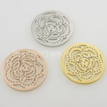 33MM stainless steel coin charms fit  jewelry size rose with rhinestone
