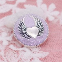 20MM Wing snap silver Plated with purple enamel KC6947 snaps jewelry