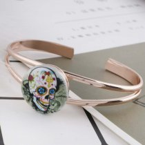 20MM skull Painted enamel metal C5246 print snaps jewelry