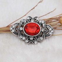 20MM design snap silver Plated with red rhinestone KC6907 snaps jewelry