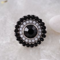 20MM Round snap Antique Silver Plated with black rhinestone and small beads KB6398 snaps jewelry